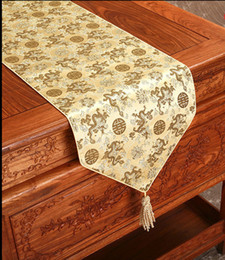 Jacquard Chinese Silk Satin Table Runner Wedding Dinner Party Table Decoration Mat Rectangle Damask Table Cloth Coffee Pads 180 x 33 cm