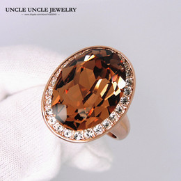 Ultra-big Rose Gold Color Big Egg Austrian Crystal Champagne Luxury Wedding Lady Finger Ring