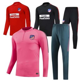TOP QUALITY 17 18 Atletico jacket Training suit kits soccer Jersey GRIEZMANN TORRES KOKE SAUL CARRASCO Madrid football tracksuit