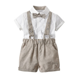 Wholesale summer Baby kids 3 Pieces sets Gentleman suit Kids boy 100% cotton white skirt + rompers +bow tie kids clothing sets