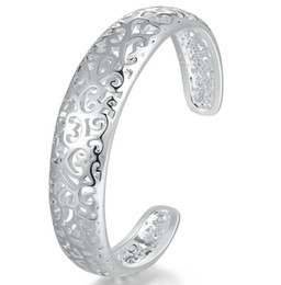 Luckyshine 2Pcs Holiday Gift Shiny Pure 925 Sterling Silver Open Adjustable Bracelets Bangles Russia Bangles