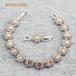 Wholesale Silver Plated Women's Bracelets With Colors Champagne Round AAA Zircon Link Chain For Women Anniversary Length 18+2 cm Customizab