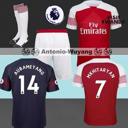 TOP Best Arsenal 2018-2019 adult home away AUBAMEYANG soccer jersey OZIL MKHITARYAN kids childs youth 18 19 football kit set WILSHERE
