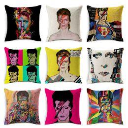David Bowie Cushion Covers Euroeapn American Rock POP Style Pillow Cover Home Decorative Linen Cotton Pillow Case Bedroom Sofa Decoration
