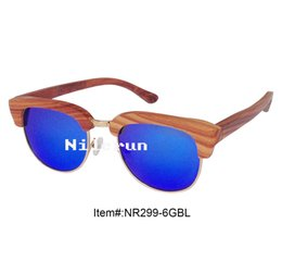 top selling UV400 mirror blue lens gold metal red wooden frame sunglasses