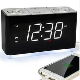 Wholesales Alarm Clock Radio Digital FM Radio Cell Phone USB Charge Port Sleep Timer Backup Battery Desk & Table Clocks