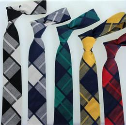 student necktie unisex 6cm leisure cotton ties for men women skinny business neck tie plaid check jacquard red tie