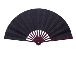 Large Plain Black Hand Fan DIY Folding Chinese Silk Fan Adult Fine Art Painting Program Home Decoration Crafts Mens Gift 10pcs lot