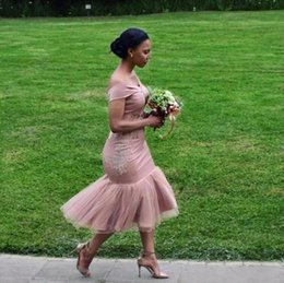 African Dusty Pink Mermaid Bridesmaid Dresses 2018 Off The Shoulder Tea Length Short Maid Of Honor Gowns Wedding Party Guest Wear BA9508