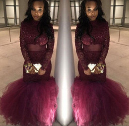 2018 Sexy African Mermaid Prom Dresses Burgundy Lace Elegant Long Sleeves Party Formal Dresses Evening Dresses Gowns