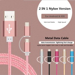 Top Quality 2 IN 1 USB Data Cable Charging Cable Nylon Woven Android Charger Cable Cordless Phones