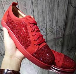 Zapatillas de deporte de la parte inferior roja de Snakeskin Zapatillas de deporte superiores del patín del diseñador de lujo para hombre Zapatos casuales de las mujeres Marca nueva precio al por mayor de Rhhinstone 36-46