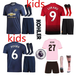2018 2019 Premier League ALEXIS LUKAKU POGBA Kids MARTIAL UTD LINGARD RASHFORD Soccer Jersey Custom Home Away Red Blue 18 19 Football Shirt