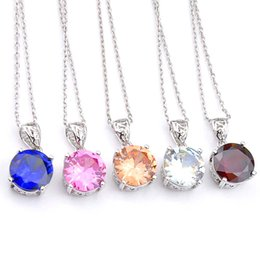 Wholesale Luckyshine Weddings Jewelry Women Round Cubic Zirconia Pendant Fashion 925 Sterling Silver Plated Necklace Bridal Jewelry 8 m