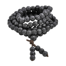 Natural Lava Rock Stone Healing Gem Stone 108 Buddhist Prayer Beads Tibetan Mala Bracelet Necklace