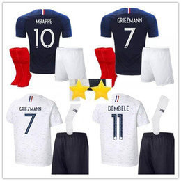 2 star World Cup Adult Kit Soccer Jersey Home MBAPPE GRIEZMANN 2018White LACAZETTE MARTIAL GIROUD JERSEY 2018 Football Sweatshirt sock