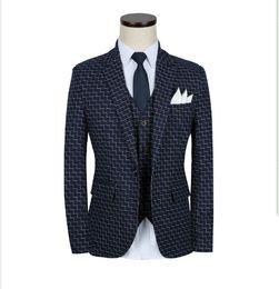 3pcs terno masculino 2017 autumn brand new men suit costume homme fashion slim fit casual plaid mens business suit dress 5XL-M