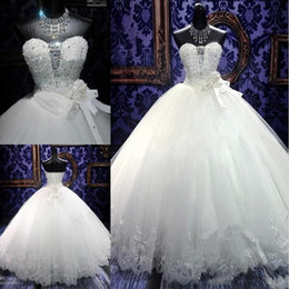 2019 Luxurious Ball Gown Wedding Dresses Bridal Gowns Lace Bling Beaded Crystal Sweetheart Neck Lace Up Puffy Quinceanera Tulle Dress