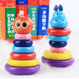 Wooden children 's sets Le puzzle toys animal rings layer sets tower tumbler enlightenment toys