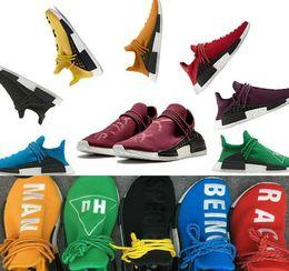2018 Human Race Factory Real Boost Amarillo Rojo Verde Negro Naranja Hombres mujeres Pharrell Williams X Carrera humana Zapatos