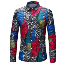 New foreign trade new men long sleeve shirt color block printing CS DG.