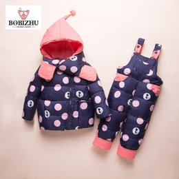 Boy Girl Winter Set Kids Quality White Goose Content 95%+ Toddler Casual Hooded Coat Infant Warm 2018 NEW Ski Clothes Baby suit