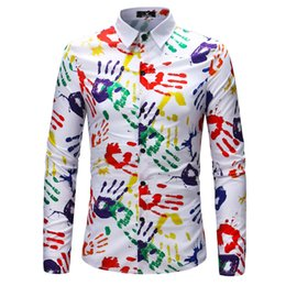 2018 new men's long sleeve comfortable and breathable shirt, fashionable hand print