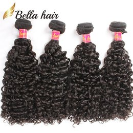 Bella Hair® 4 Bundles Brazilian Human Hair Weaves Deep Curly 8A Natural Black Brazilian Curly Hair Extensions Double Weft Free Shipping