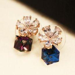 Luxury Zircon Flower Stud Earrings Women Square Earrings for Party Fashion Jewelry Accessories Purple Blue Colors