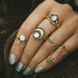 New Boho Knuckle Rings For Women Girls Vintage Silver Gold 5Pcs Set Midi Finger Rings Sets Opal Ring Jewelry Party Gifts HZ