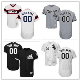 custom Men's women youth Majestic White Sox Jersey #00 Any Your name and your number Black Grey White Kids Girls Baseball Jerseys