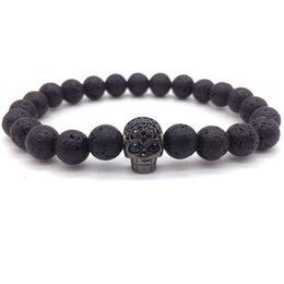 Brand Fashion Charm Bracelet Micro Pave CZ Skull Head Lava Stone Beads Bracelet For Men Jewelry Gift