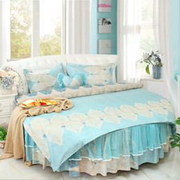 Dream round corner lACE luxury beding set king Cotton Blue floral Duvetcover Round bedskirt pillowcase princess Lace RUFFLE wedding bedding