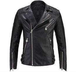 2018 Brand men Motorcycle jacket water washed leather jacket men clothing fashion skull plus size leather coat