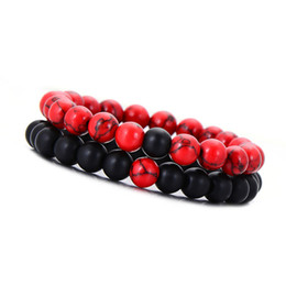 8mm Natural Beaded Bracelet Set Couple Jewelry Red & Black Lava Stone Stretch Bracelets Women Mens Yoga Jewelry