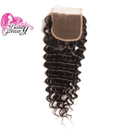 Beauty Forever Brazilian Hair Deep Wave Lace Closure Free Part 10-20inch 100% Human Hair 4x4 Swiss Lace Top Closures Virgin Hair Closure