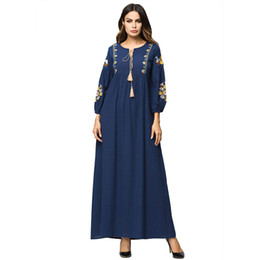 3187120 Hot Sell Women European and American Industries Embroidered Cotton and Hemp Robe Muslim Long Sleeved Ankle-length Skirt Mujer Abaya