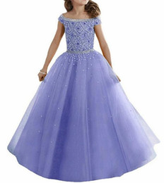 Lavender Water Melon Lovely Girls Pageant Dresses Off Shoulders Crystals Beaded Corset Back Flower Girl Dresses Organza Kids Formal Wear