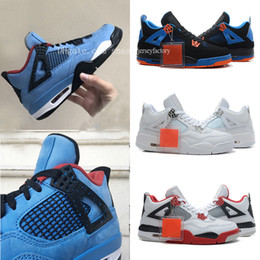 Travis Scott x 4 Houston Oilers Blue Black Basketball Shoes 4s Raptors Motorsport Royalty For Men 2018 Authentic Sneakers Sports 308497-406