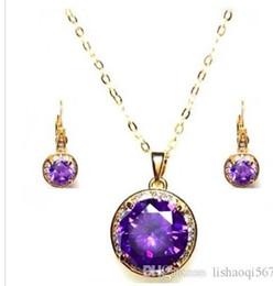 fashion purple diamond stone wedding jewerly necklace earings set free shipping erwqerer