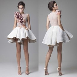 2018 Sparkly Krikor Jabotian Short Homecoming Dresses Ruffles 3D Handmade Floral Appliques Party Dresses Cocktail Gowns Prom Dress