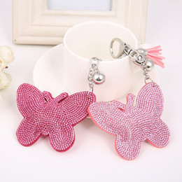 Manufacturers hot selling new butterfly key ring Damond car key pendant Gift bag pendants Two colors wholesale