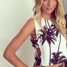 Summer Sexy Women T-shirt Tees Tree Print Crop Tops Sleeveless T-Shirts