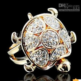 24k rose turtle GOLD Swarovski crystal ring 8