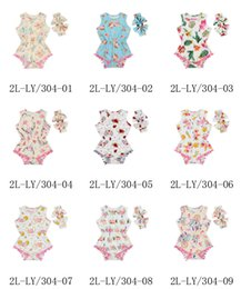 Mix 13 Colors Baby Girls unicorn Floral Rompers Sets two pieces with Butterfly Bow Headbands Infant Newborn Flower Printed boutique outfits