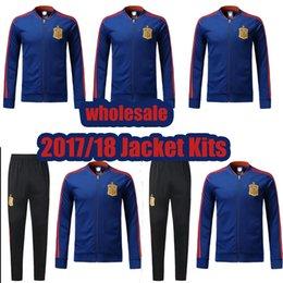 Al por mayor 2017 España kit de cazadora de fútbol 2017 TORRES SILVA ISCO SERGIO RAMOS A.INIEST kit de cazadora de fútbol
