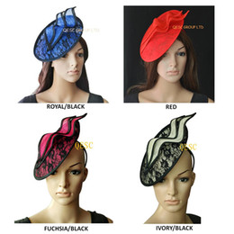 NEW Unique design bridal lace sinamay disc fascinator for Kentucky derby,wedding.5 colors,black ivory,fuchsia,royal black,red,beige