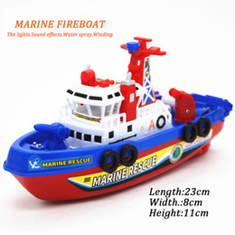 Very sophisticated children's electric fire boat, equipped with music, light, water jet, water running model toys.