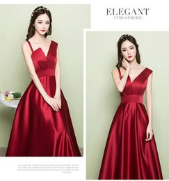 Evening dress woman 2018 new toast dress slim satin wine red wedding dress to the emcee