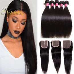 Nadula Brazilian Virgin Hair Bundles with Closure Straight Hair Weave Bundle With Closure Human Hair Extensions With Lace Closure Wholesale